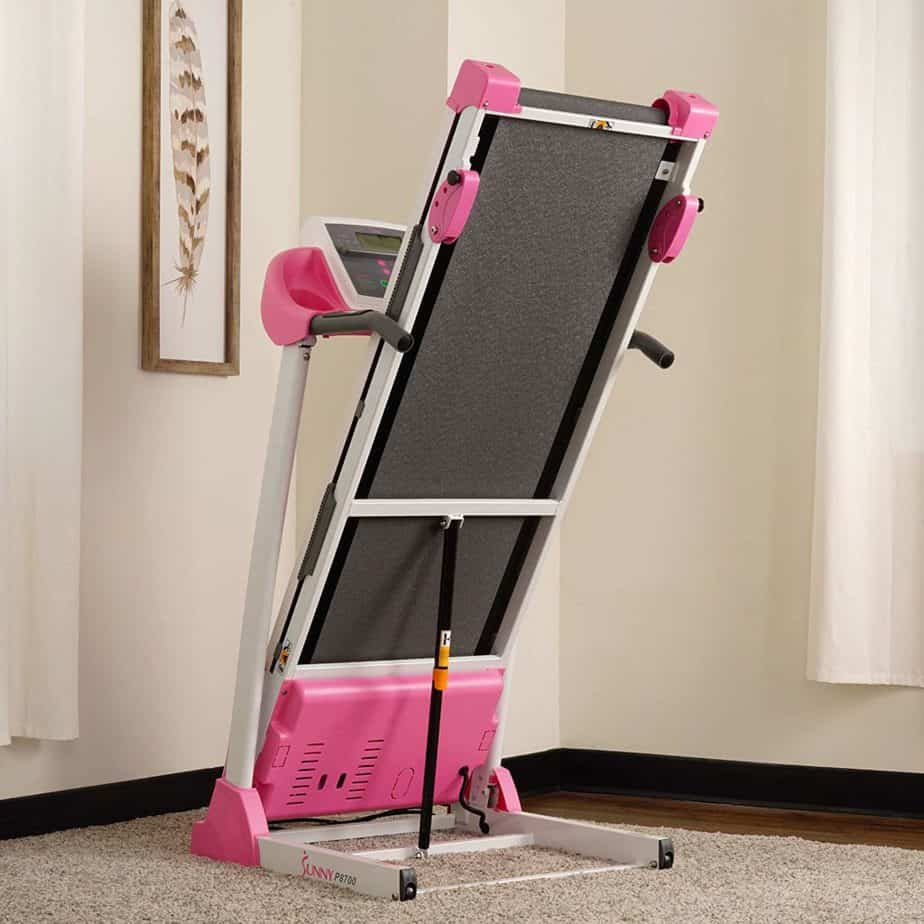 The Sunny Health & Fitness P8700 Treadmill in a folded mode
